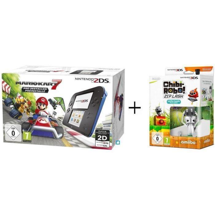 Console Nintendo 2DS Bleue + Mario Kart 7 Préinstallé + Chibi-Robot ! Zip Lash + Amiibo Chibi-Robot 3DS + 3 mini figurines