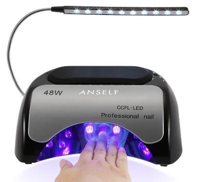 Lampe Sèche-Ongles Anself CCFL - 48W + LED Professionnelle pour Durcissement Gel et Vernis