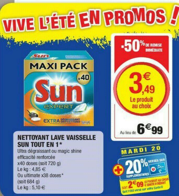 Sélection d'articles en promotion - Ex : Pack de 40 tablettes lave vaisselle Sun Expert (via 1.4€ sur la carte de fidélité + BDR de 1.4€)