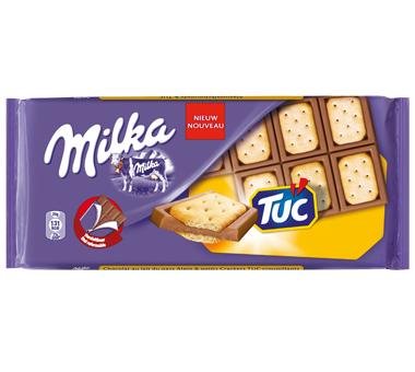 Tablette de chocolat Milka Tuc ou LU : Lot de 4 à 0.98€, ou lot de 2