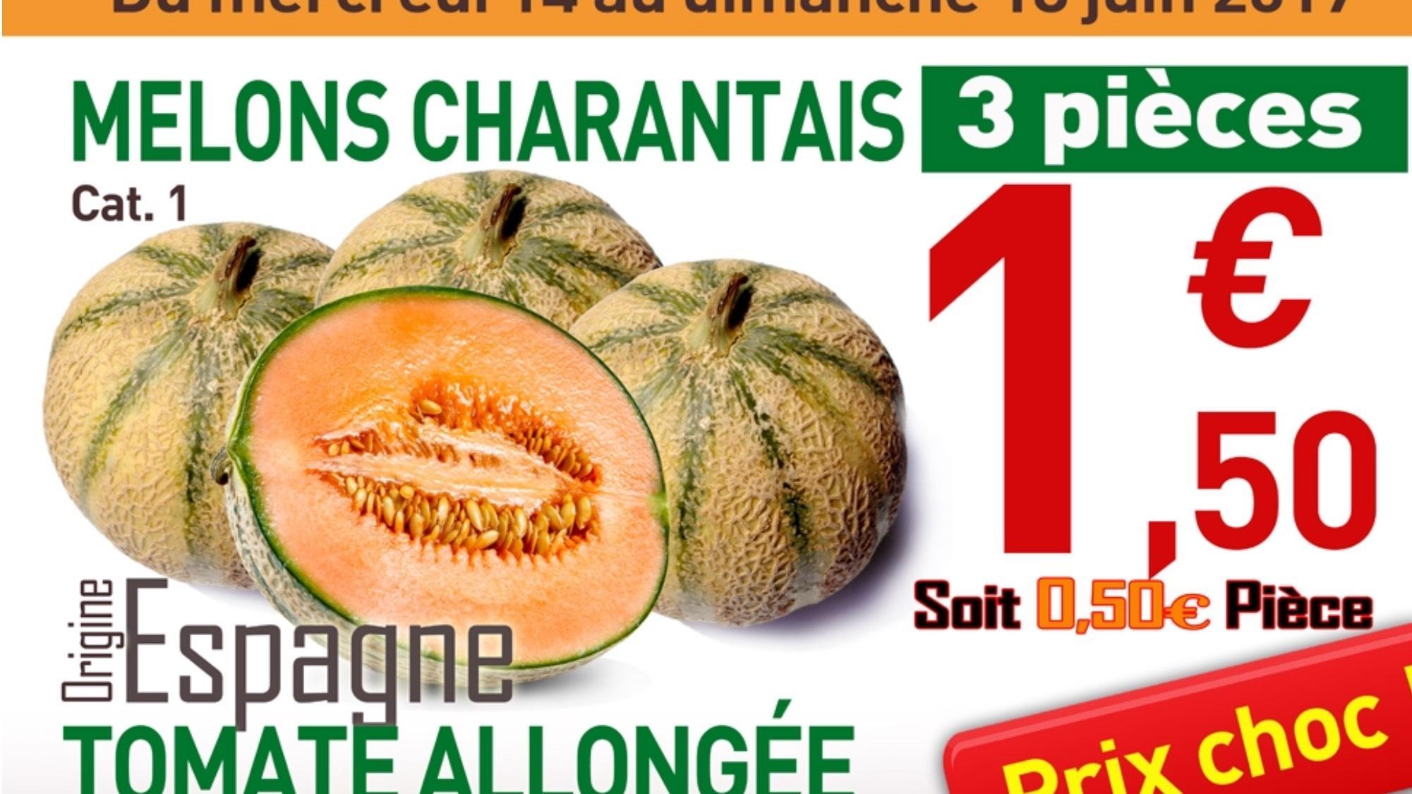 Lot de 3 Melons Charentais Catégorie 1 - Origine Espagne