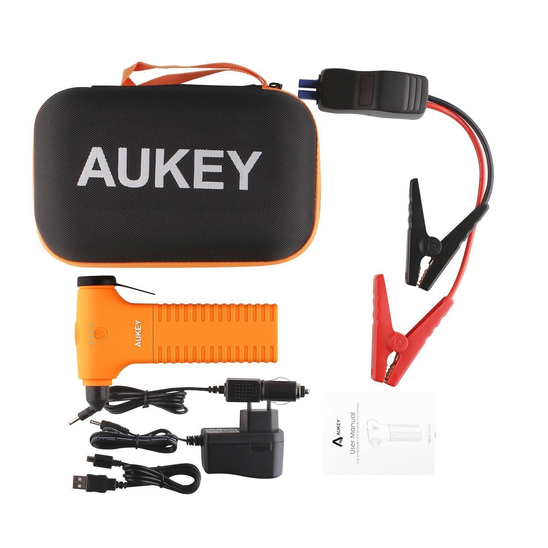 Booster de Démarrage 3 en 1 Aukey 12000mAh - Marteau de Secours, Lampe de Poche LED et Batterie Externe