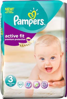 Jusqu'à 75% de réduction sur une sélection de couches Pampers Active Fit - Ex : Pack de 47 couches Active Fit Taille 3