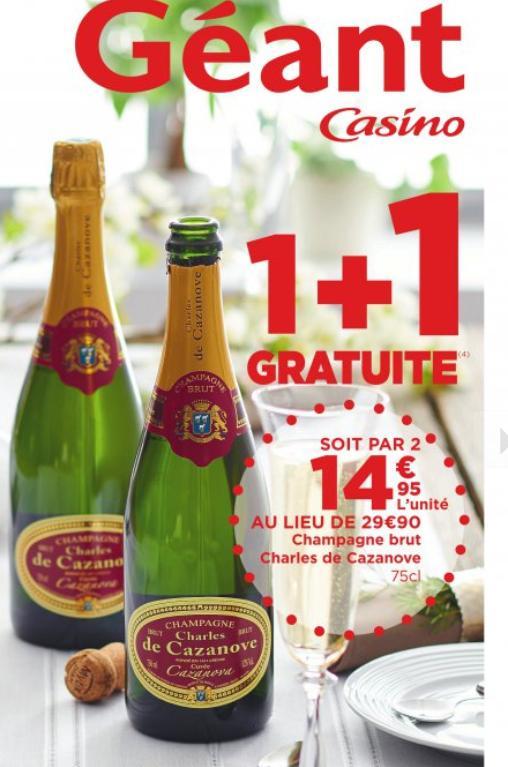 Deux bouteilles de champagne Charles de Cazanove