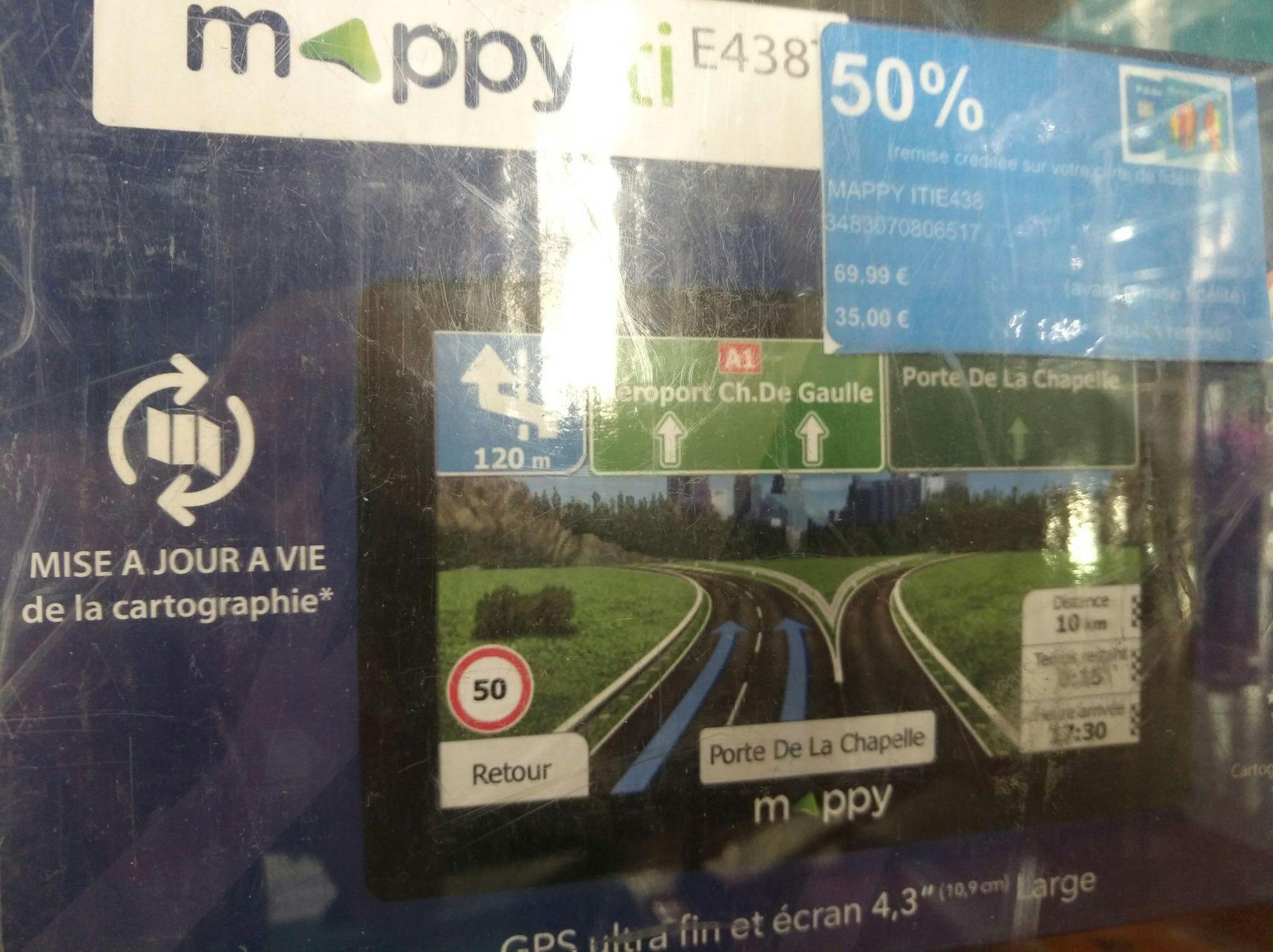GPS Mappy ITIE438 (via 34.99€ sur la carte fidélité)
