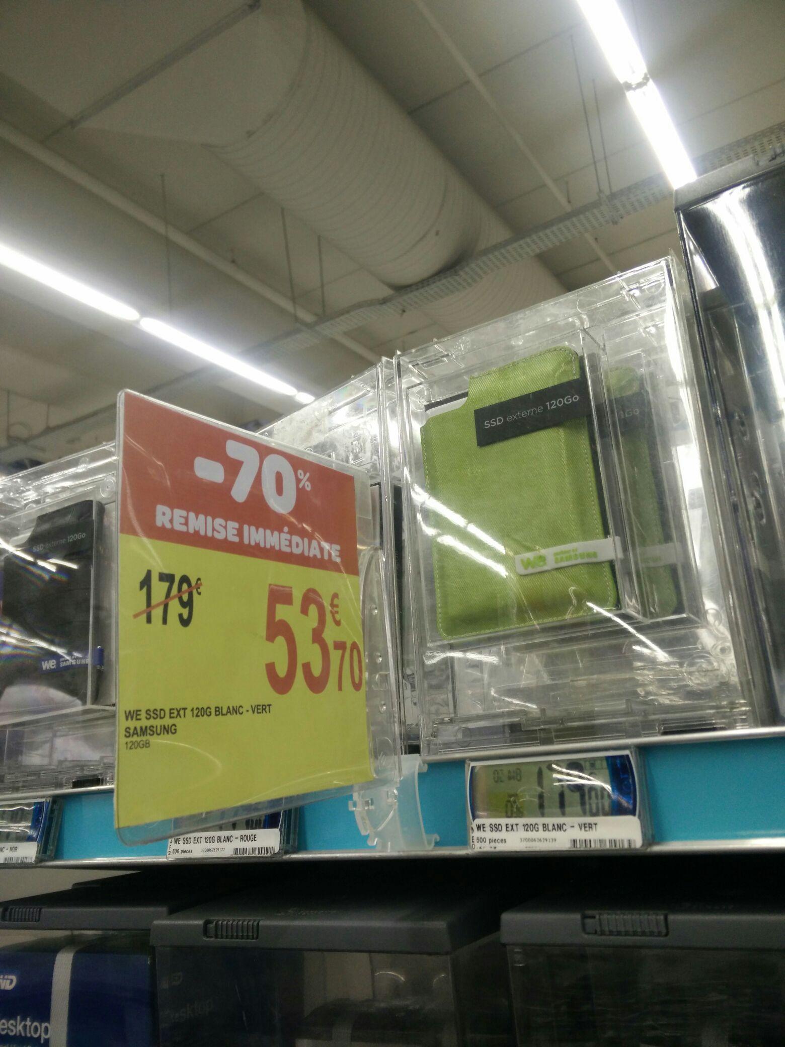 """SSD Externe 2.5"""" Samsung WE - 120Go, blanc-vert"""