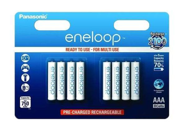 2 lots de 8 piles rechargeables AAA Panasonic Eneloop 750mAh