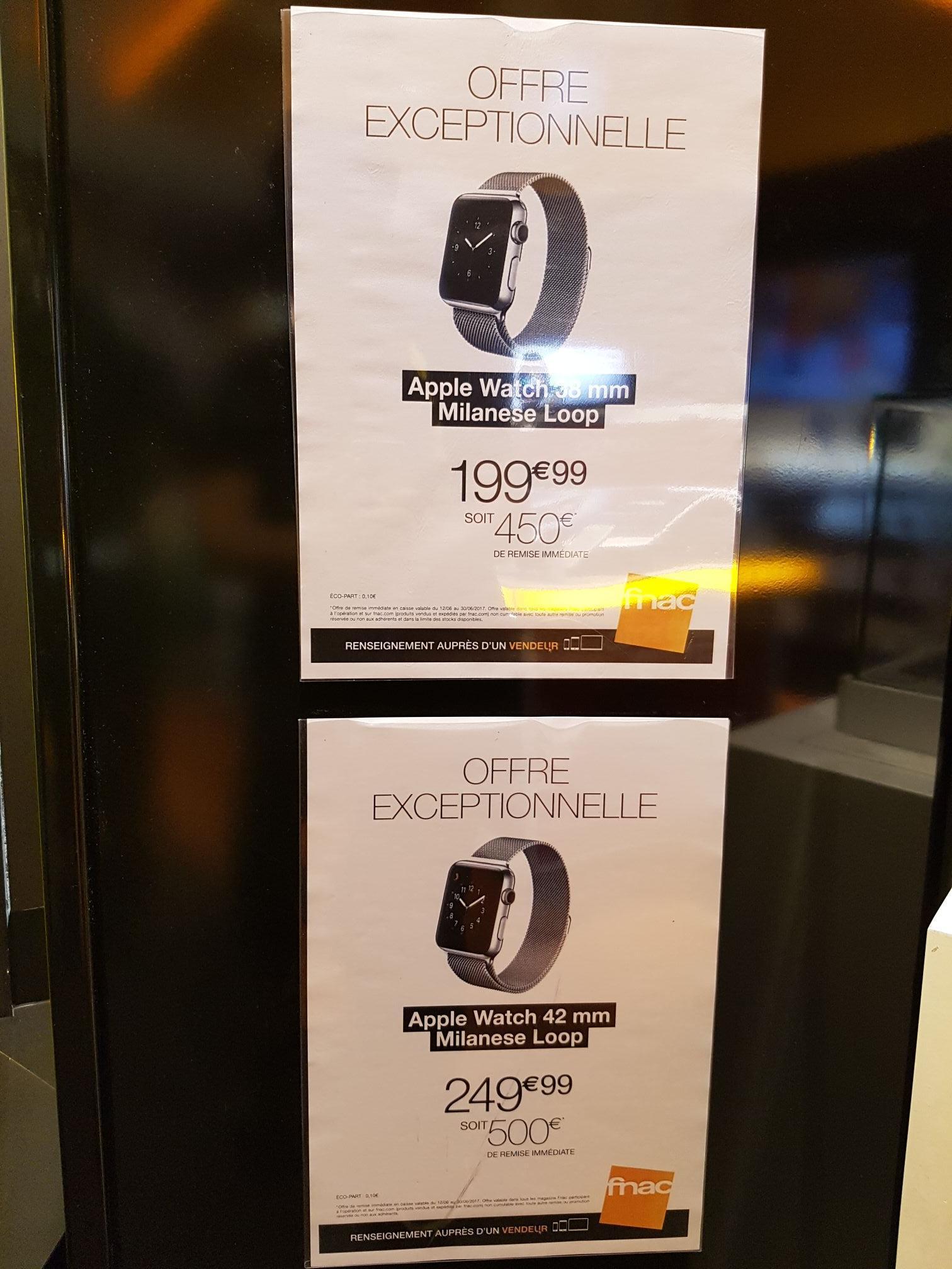 Montre connectée Apple Watch Acier Milanais - 42 mm à 249.99€ et 38 mm