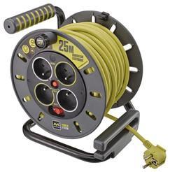 Enrouleur électrique 25m - Câble 3G1,5 mm², Disjoncteur thermique, 4 prises 2P+T