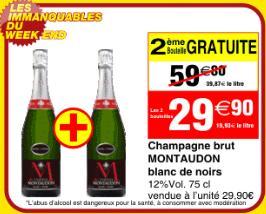 Lot de 2 bouteilles de champagne Montaudon