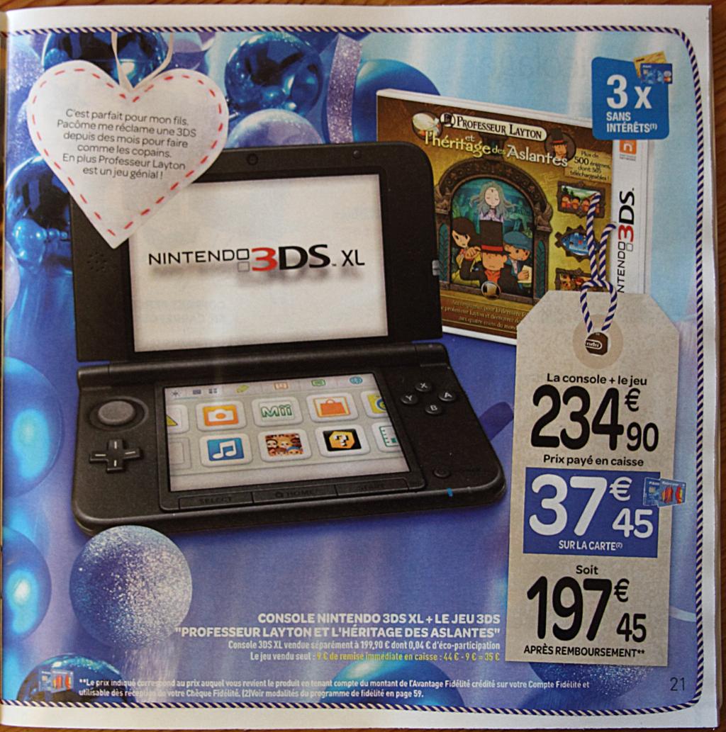 """Console 3DS XL + """"Professeur Layton et l'héritage des Aslantes"""" + """"Super Mario 3D Land""""  (37,45€ sur carte carrefour)"""