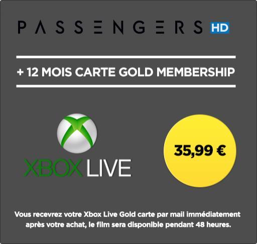 Abonnement Xbox Live de 12 mois + Passengers en location HD 48h