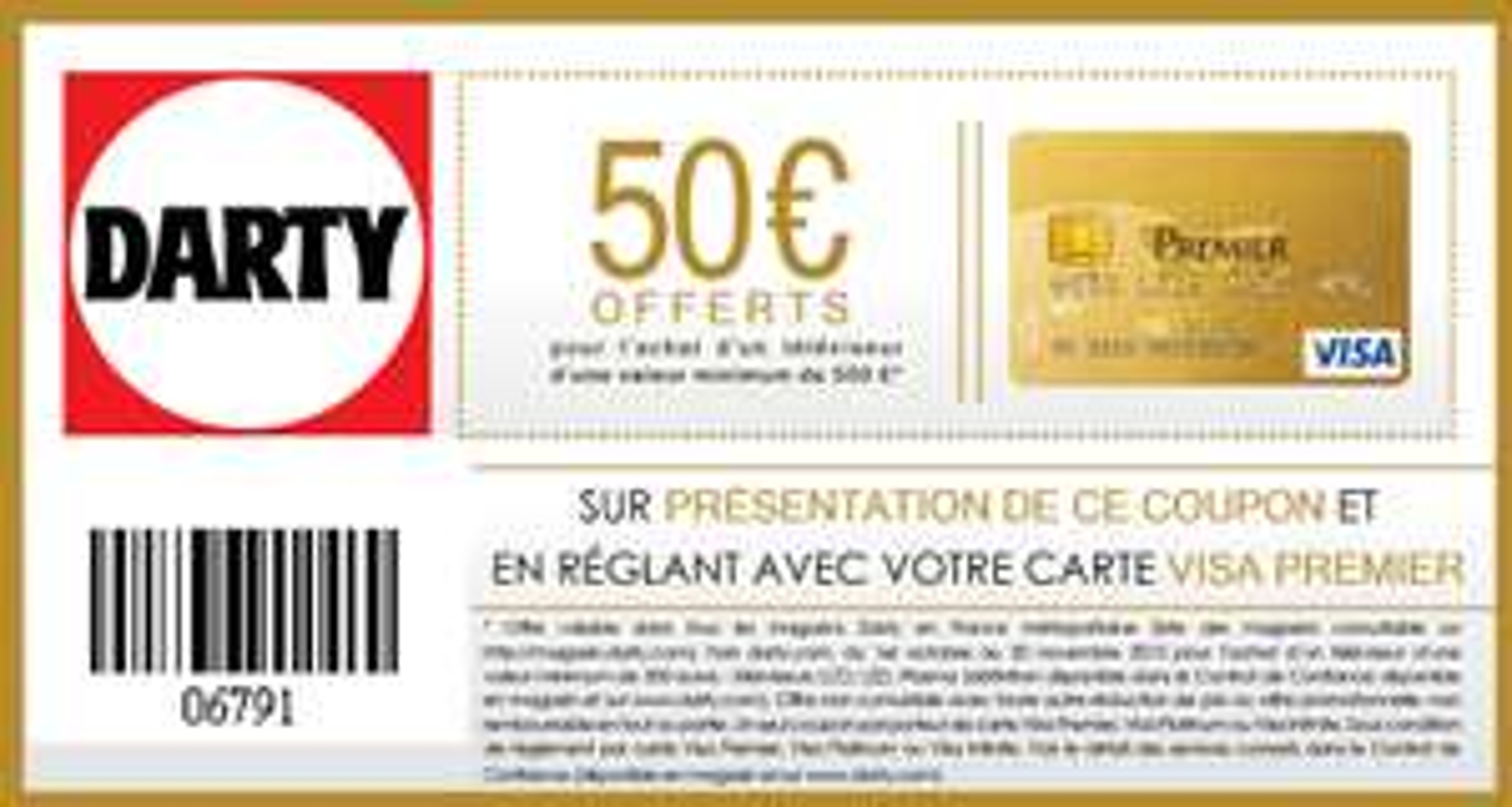50€ offerts pour l'achat d'un téléviseur d'une valeur minimum de 500€ (détenteurs carte Visa Premier)