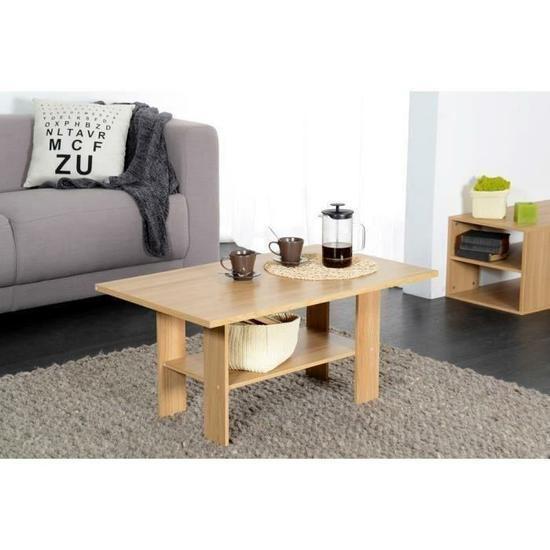 [Cdiscount à volonté] Table basse style contemporain décor chêne - L 90 x l 42 cm