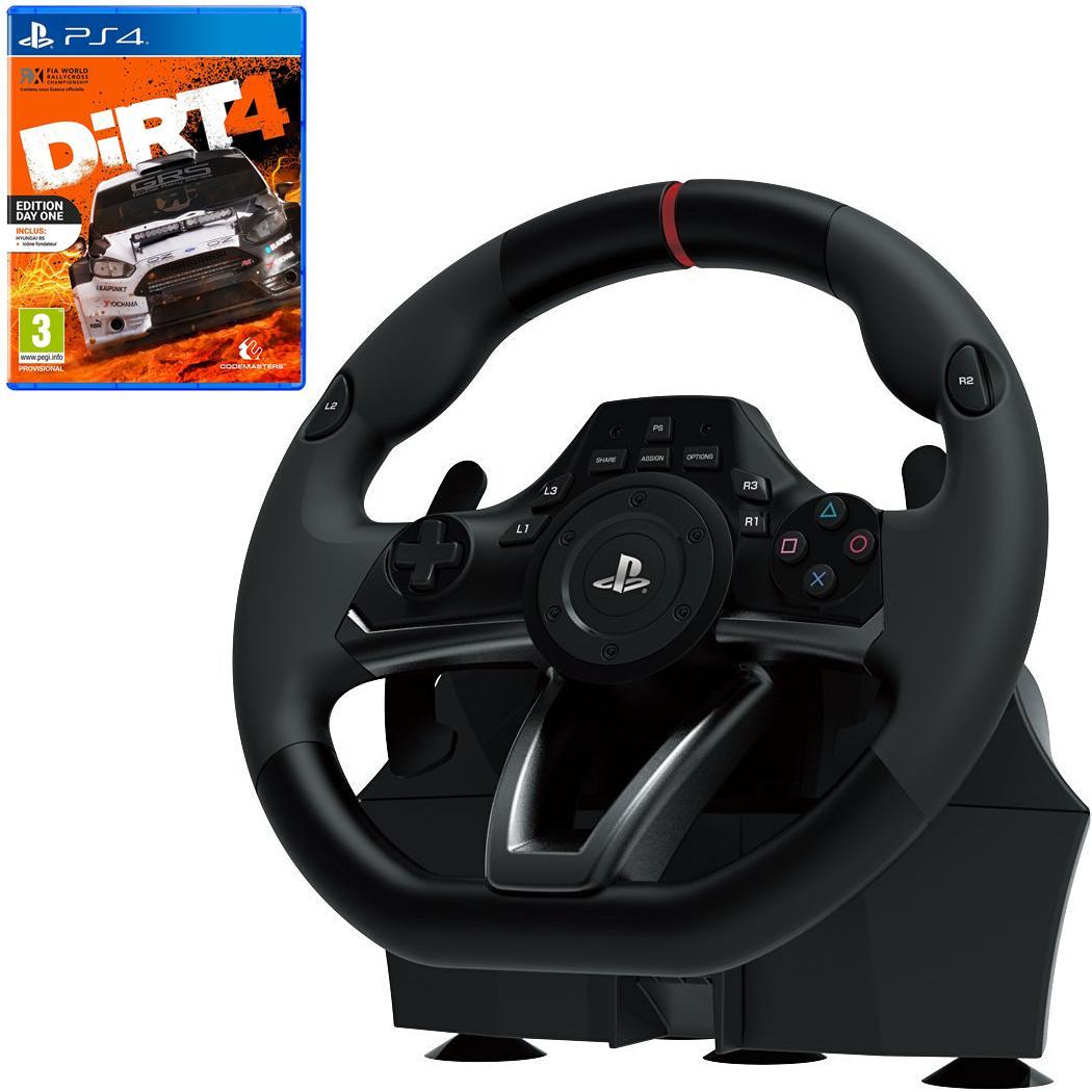 Pack volant pour jeux vidéo Hori RWA Racing Wheel Apex + Dirt 4 sur PS4 (avec steelbook)