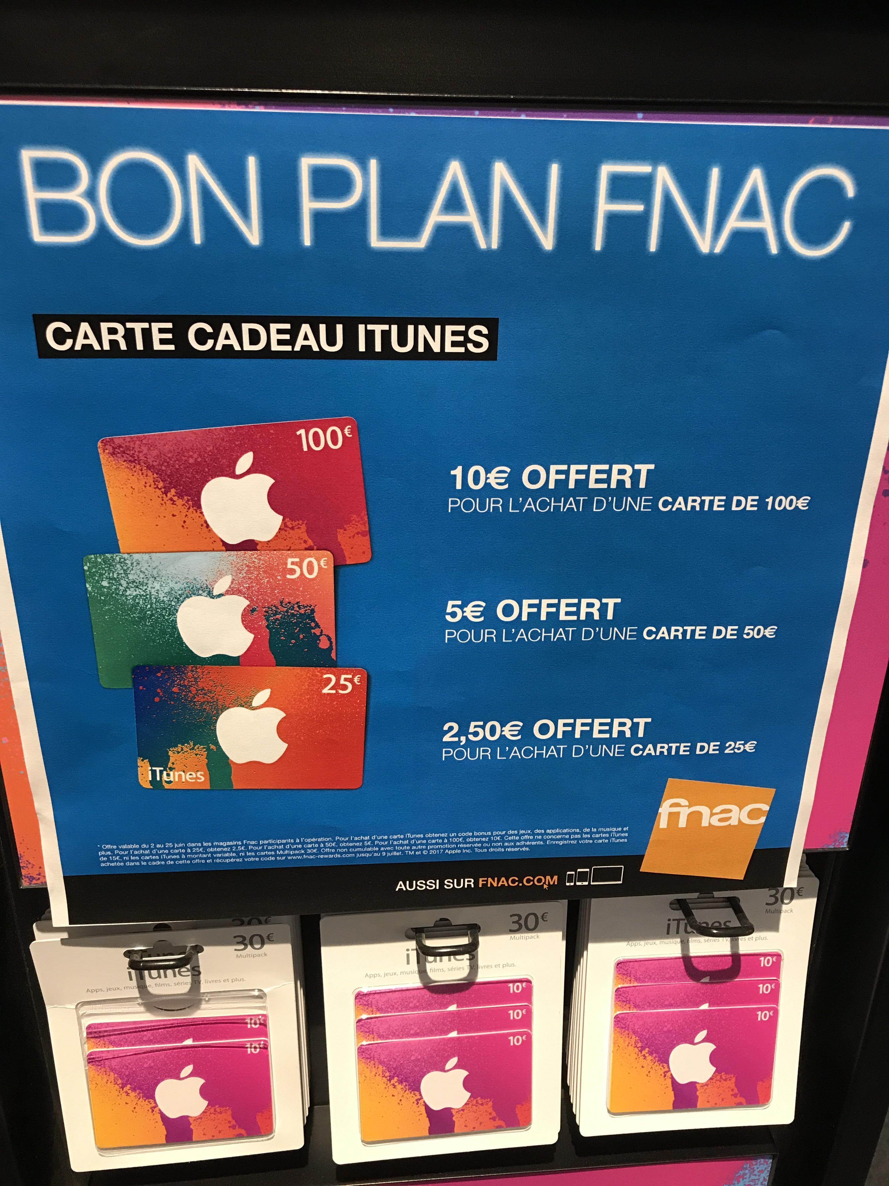10€ offerts pour l'achat d'une carte cadeau iTunes de 100€, 5€ pour 50€ et 2.5€