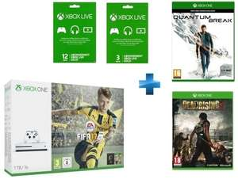 Pack console Microsoft Xbox One S (1 To) + Dead Rising 3 + FIFA 17 + Quantum Break + abonnement de 15 mois au Xbox Live