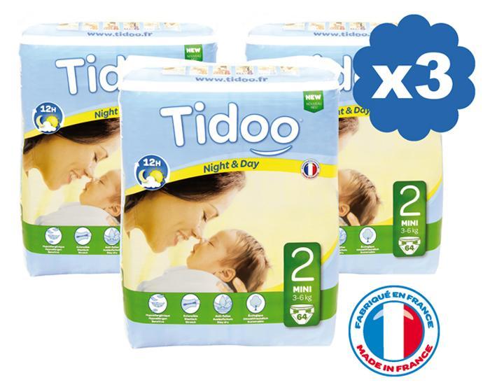 Sélection de couches Tidoo en promotion - Ex : lot de 3 paquets Night & Day - x64 (taille 2)