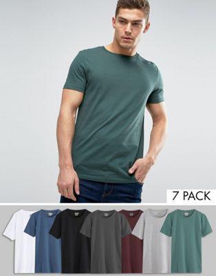 Lot de 7 tee-shirts unis Asos (XXXS au XXL)