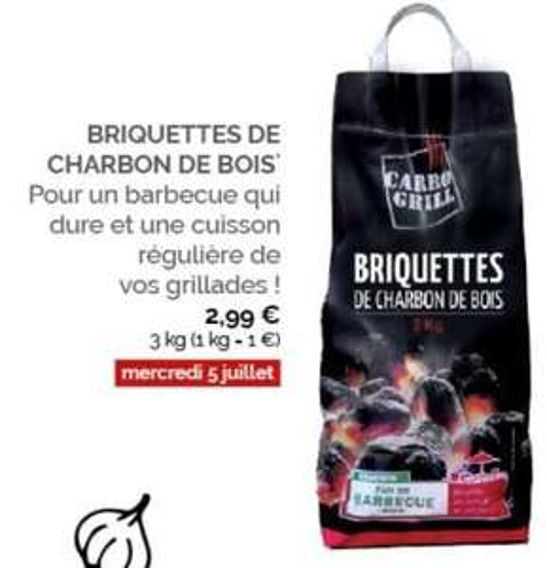 Sachet de briquettes de charbon de bois Carbo Grill - 3 kg