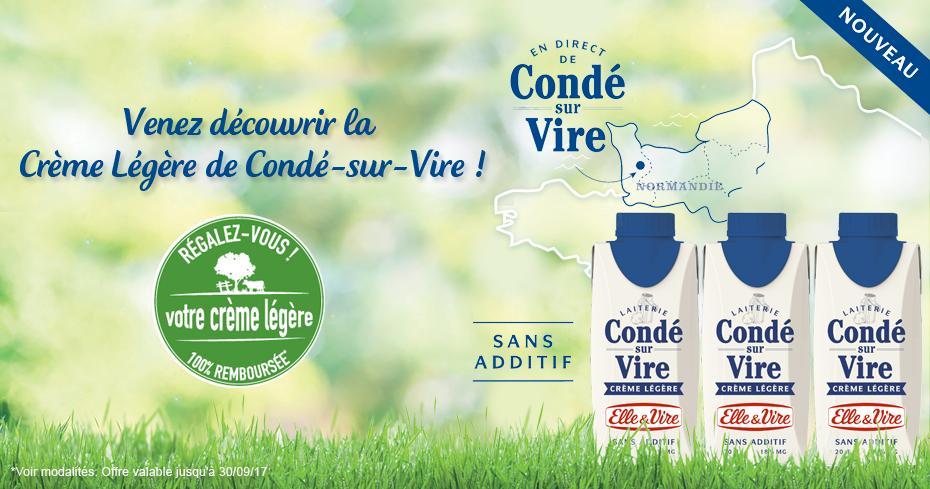 Crème légère de Condé Elle & Vire 100% remboursée via ODR