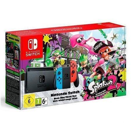 Console Nintendo Switch avec Joy-Con rouge et bleu néon + Splatoon 2