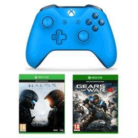 Manette sans fil Xbox Microsoft Xbox One Bleue + Halo 5 Guardians + Gears of War 4