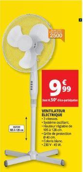 ventilateur électrique sur pied - 105/128cm