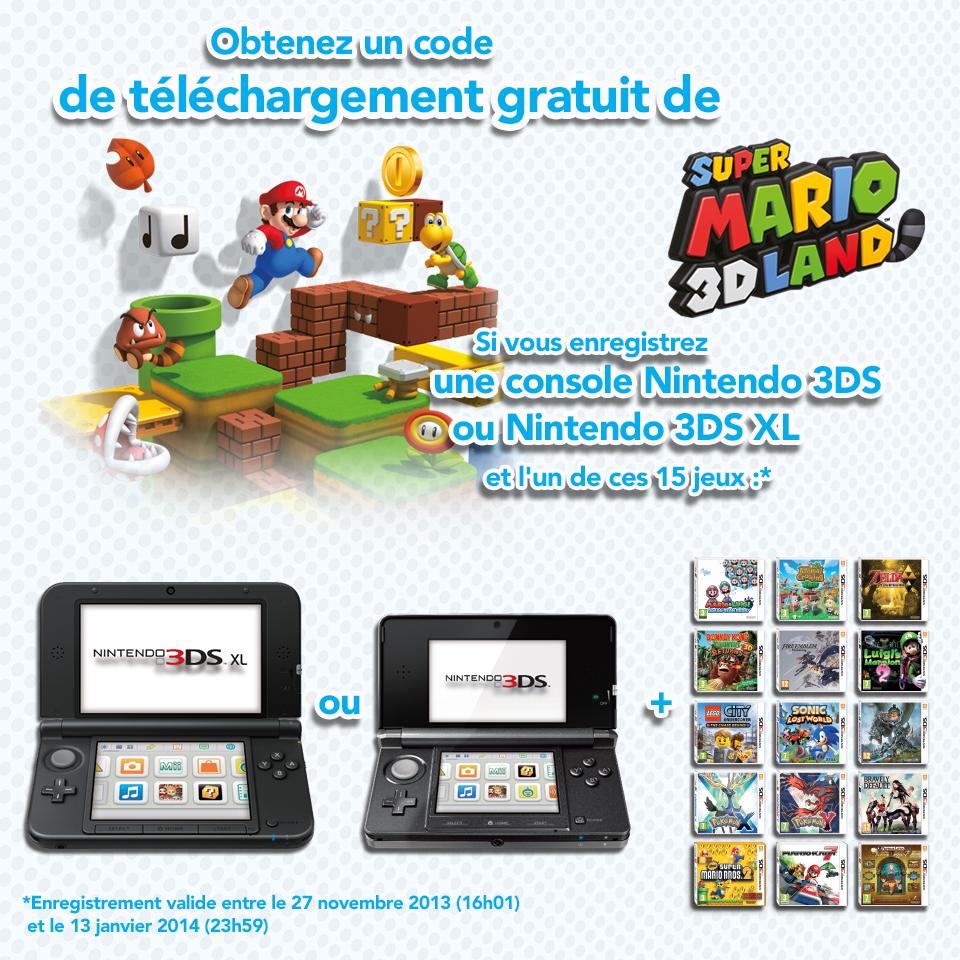 Super Mario 3D Land offert pour l'enregistrement d'une 3DS + 1 jeu