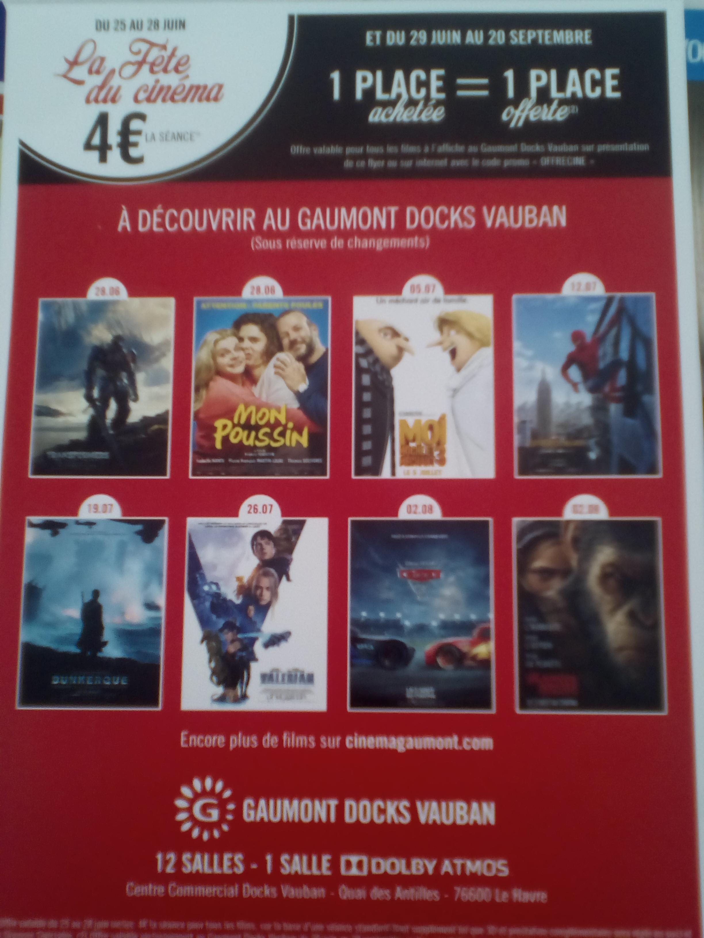 1 Place de cinéma achetée = La 2éme offerte, soit 4€ les 2 Places