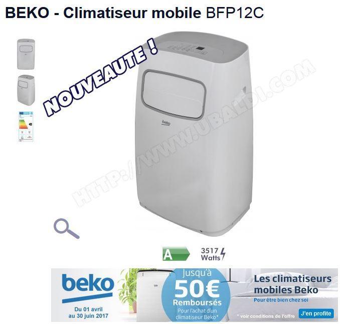 Climatiseur Mobile Beko BFP12C - 3500W, 12 000 BTU (via ODR de 30€ + Code Promo )