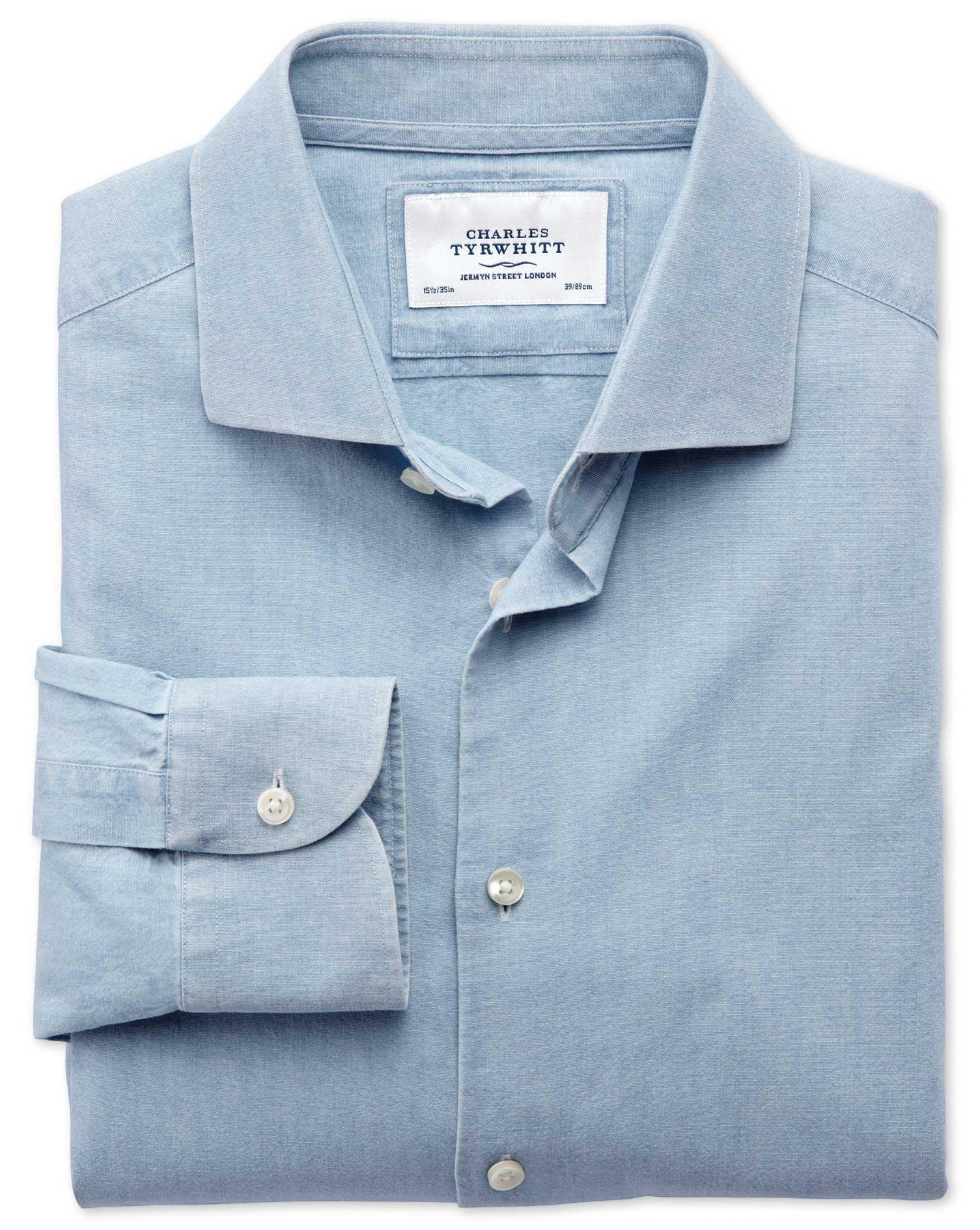 Sélection de chemises 100% coton en promotion - Ex : Chemise Chambray Denim Blue