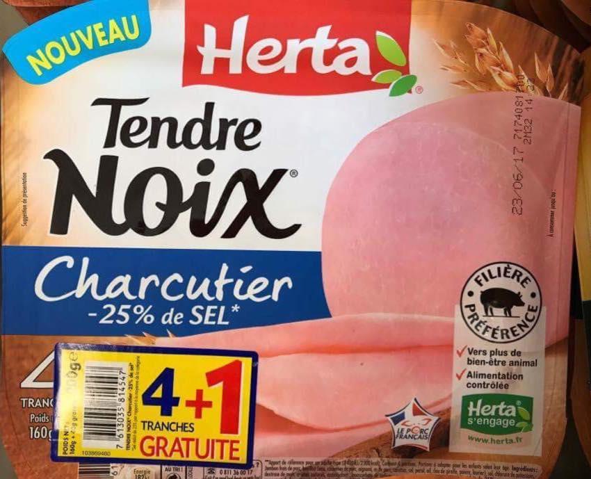 Lot de 3 paquets de 5 tranches de jambons Herta Tendre Noix Charcutier - 200 g (DLC courte)