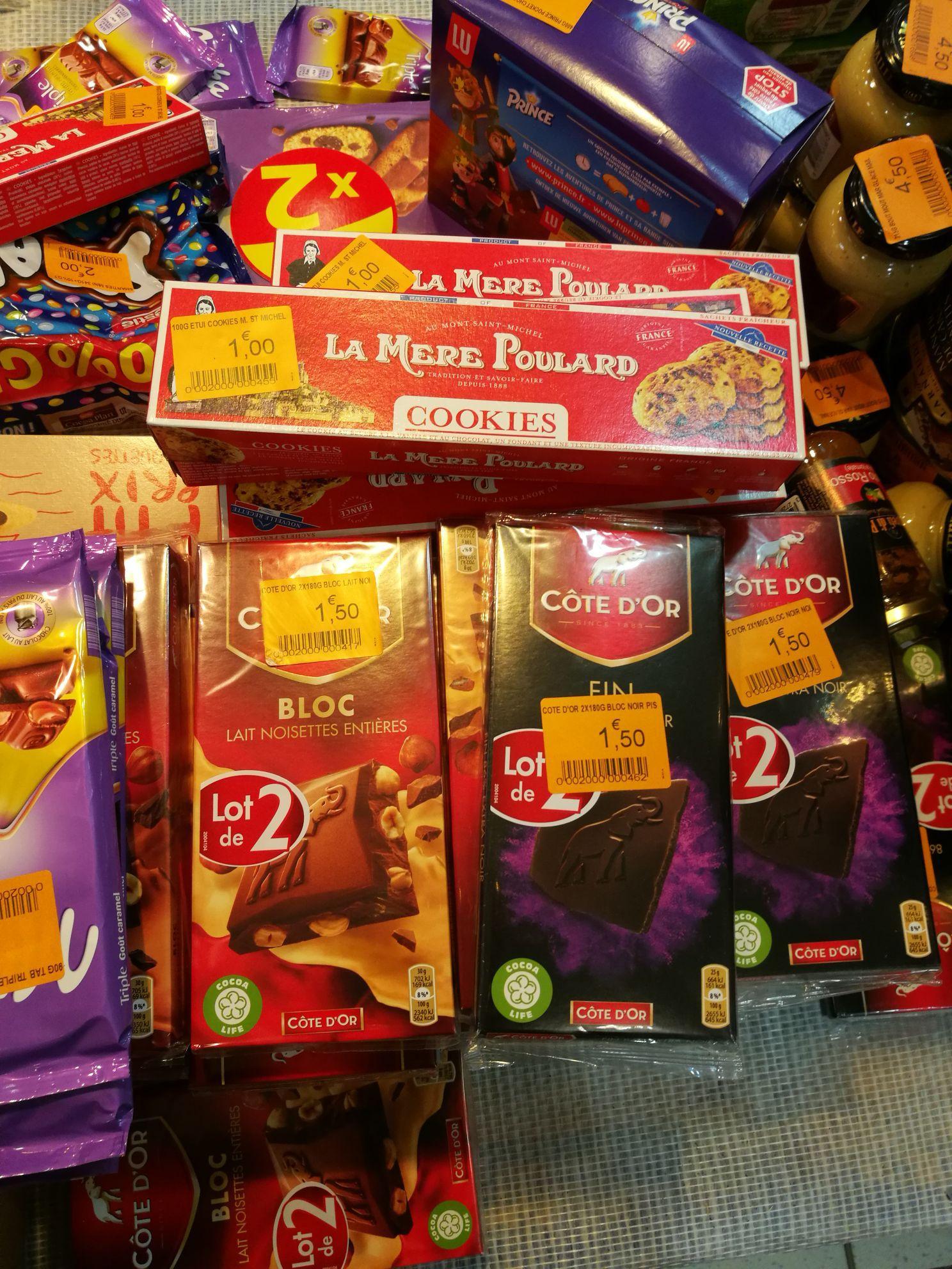 Sélection de chocolats en promotion - Ex: 2 Tablettes de chocolat Cote d'Or Lait Noisettes entières