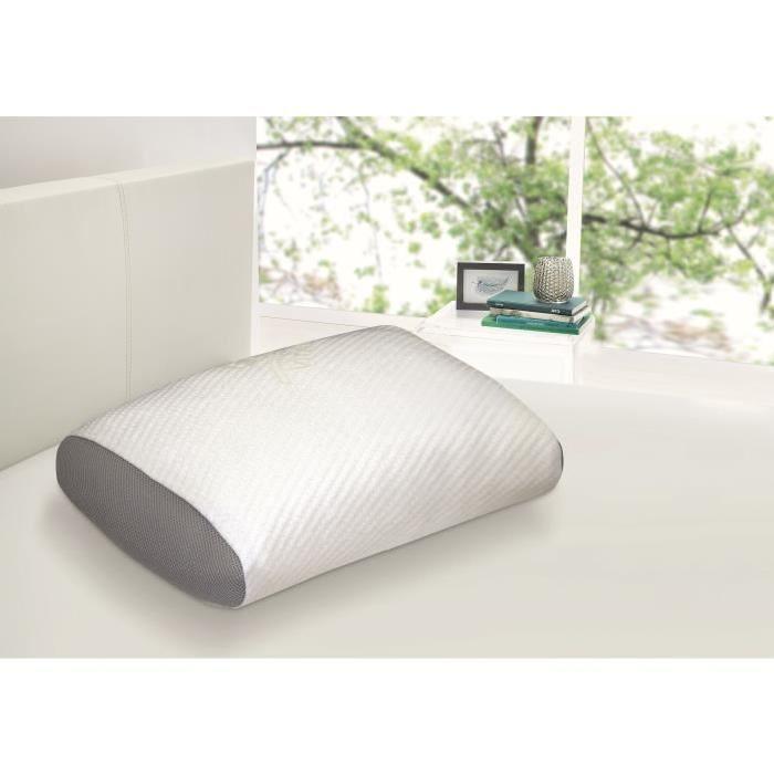 Oreiller mousse à mémoire de forme Dormipur Juno - Confort soft, Blanc (40 x 60 cm)