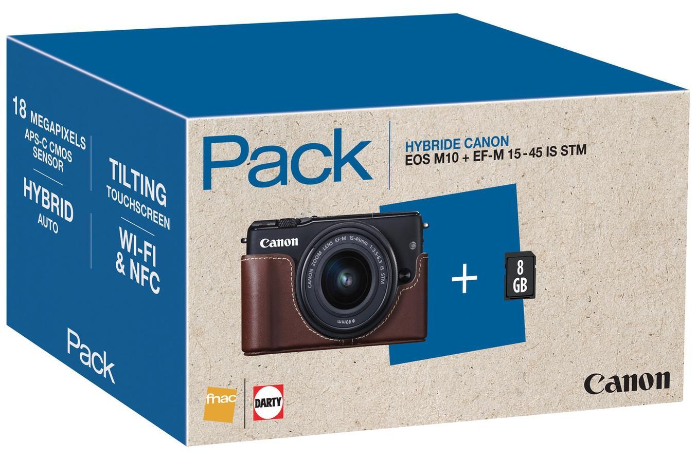 Pack Hybride Canon EOS M10 Noir + Objectif EF-M 15-45 mm IS STM + Demi étui + SD 8Go