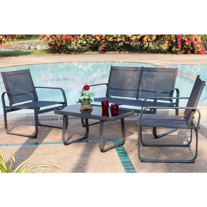 [Cdiscount à Volonté] Salon de jardin Lychee (1 table basse + 2 fauteuils + 1 canapé) -  gris