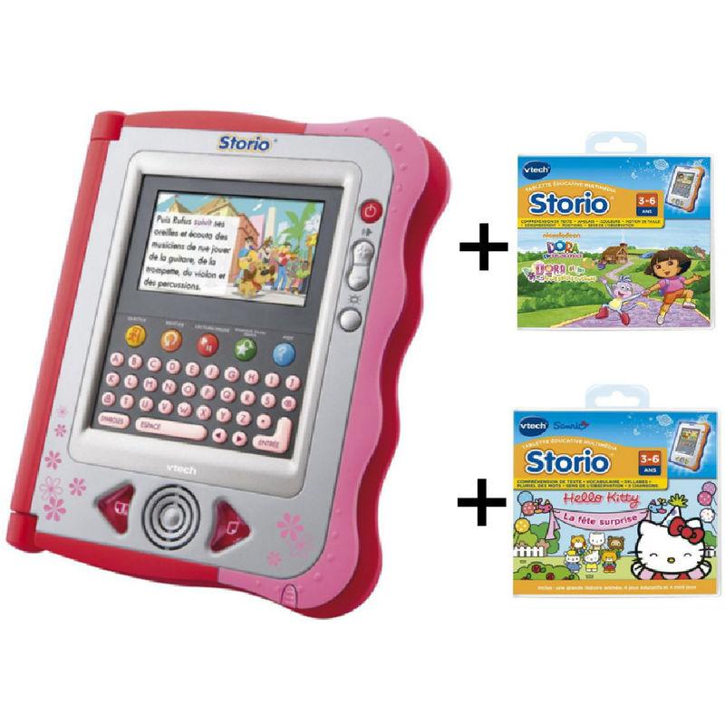 Pack Vtech Storio 1 rose ou bleu + 2 jeux : Hello kitty et Dora (ou Mickey/Scooby Doo)