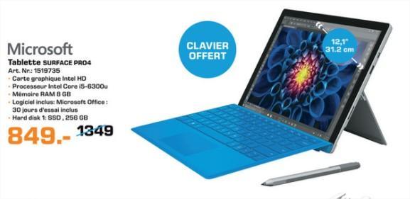 "Tablette 12.3"" Microsoft Surface Pro 4 - i5, RAM 8 Go, SSD 256 Go (Clavier Offert)"