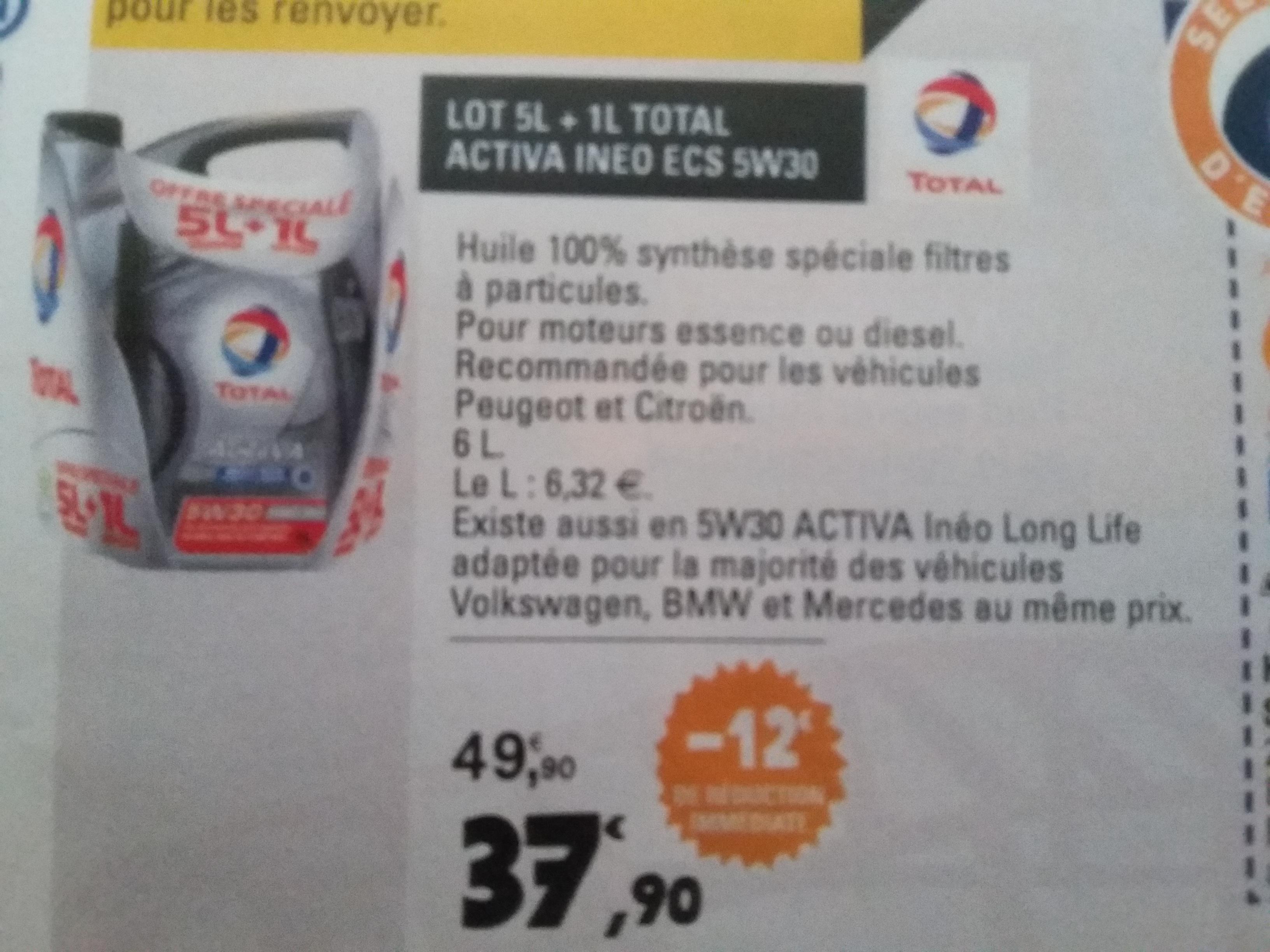 huile Total Ineo Ecs 5W30 5L + 1L