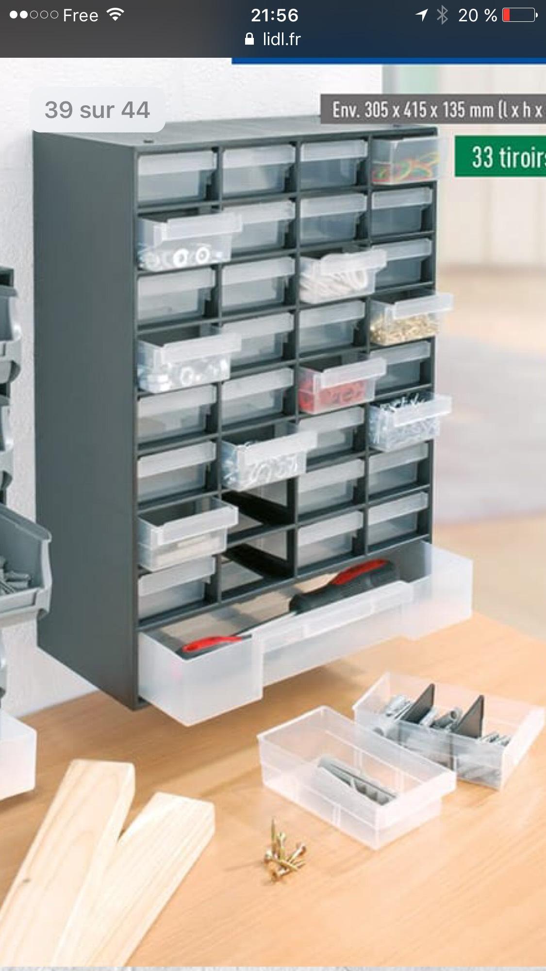 Casier 17 ou 33 tiroirs pour petites pièces