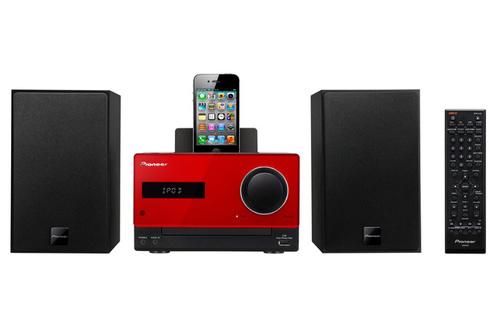 Micro-système Pioneer X-CM31 avec socle iPhone / iPod - marron ou rouge