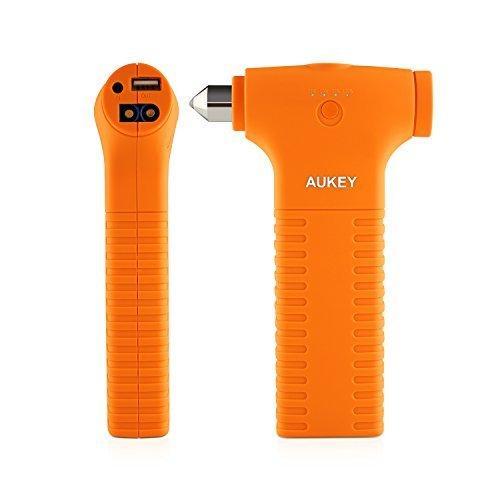 Booster de démarrage pour auto Aukey - 12000 mAh, orange (+ fonctions batterie externe, lampe LED et marteau de secours)