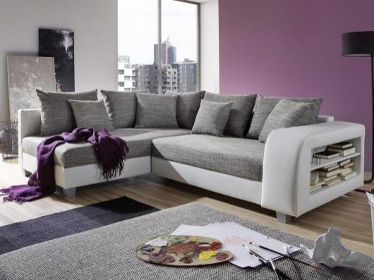 Canapé d'angle convertible tissu et simili KUOPIO - Gris et blanc