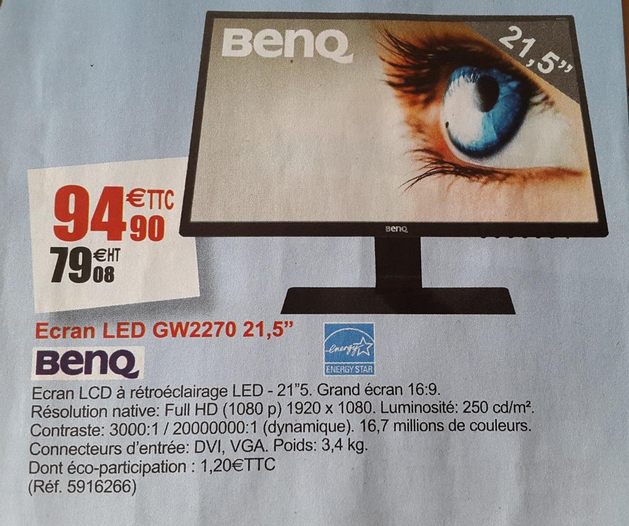 """Ecran PC 21.5"""" BenQ GW2270 - LED, Full HD, Dalle VA, VGA, DVI"""