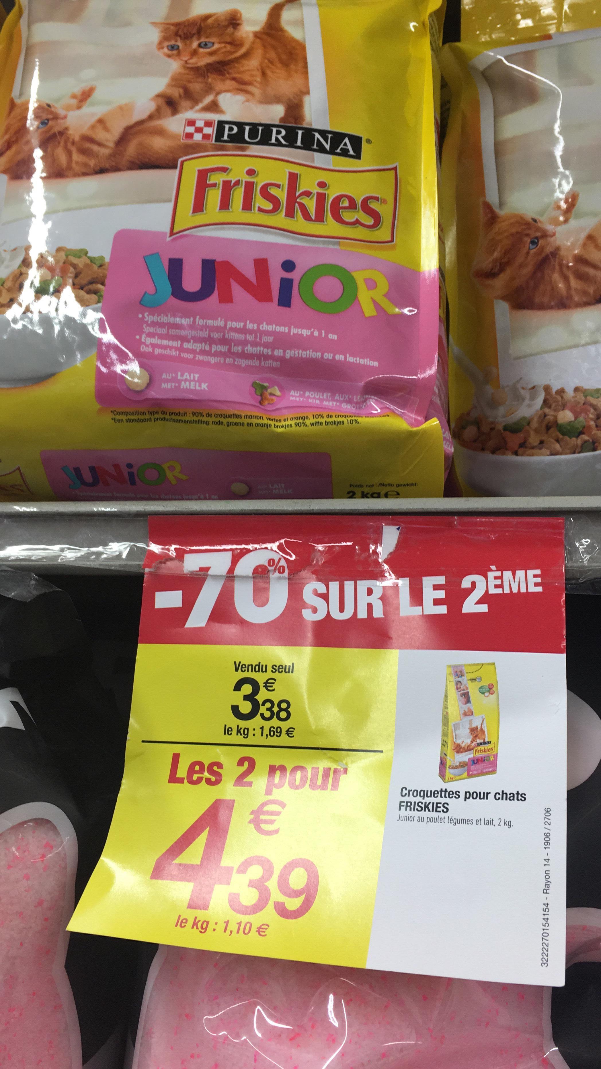 2 Paquets de croquettes pour chats Junior Friskies - 2x2Kg