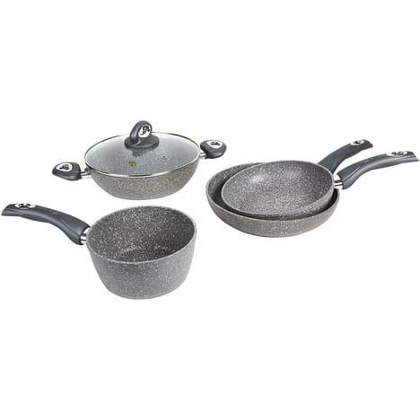 Batterie de cuisine Bialetti, compatible induction ,5 pièces 16-26-28cm + Couvercles