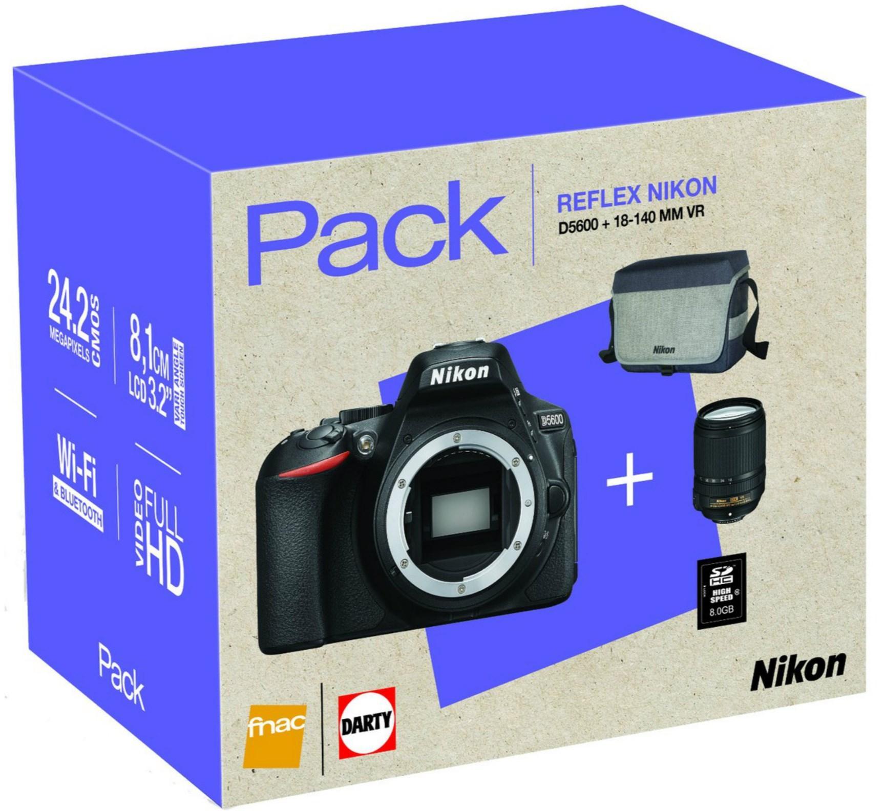 Appareil photo Reflex Nikon D5600 + Objectif Zoom 18-140 + Housse + Carte SD 8 Go
