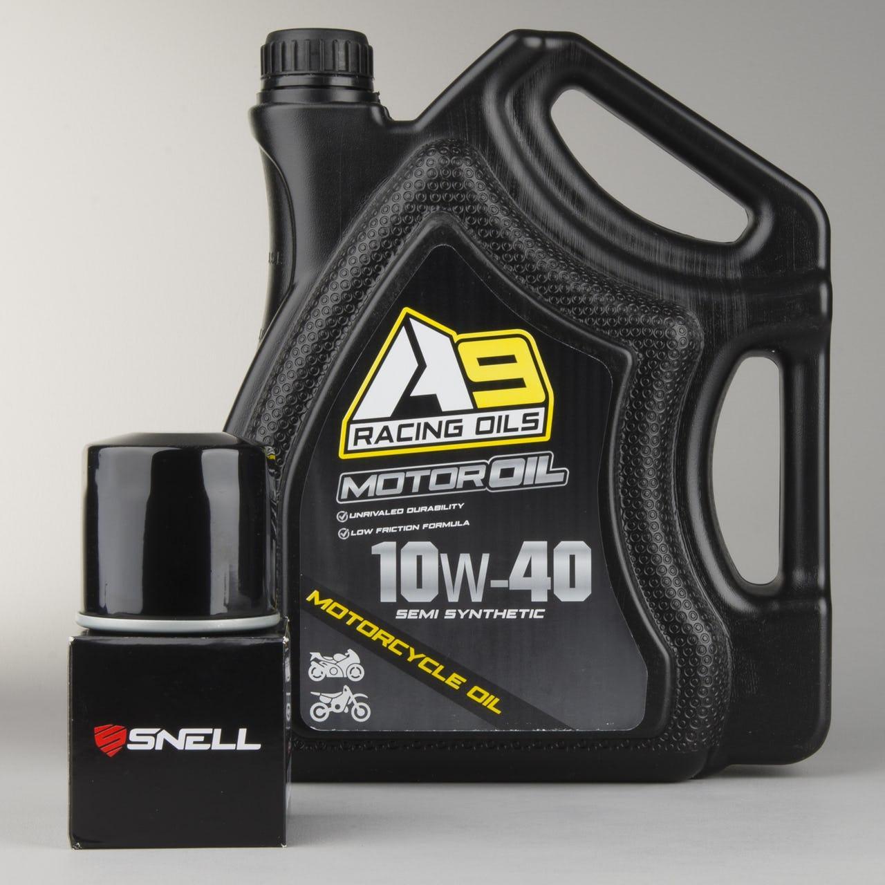 Bidon d'Huile moteur moto A9 Racing Semi Synthetic 4 Litres  + Filtre à huile