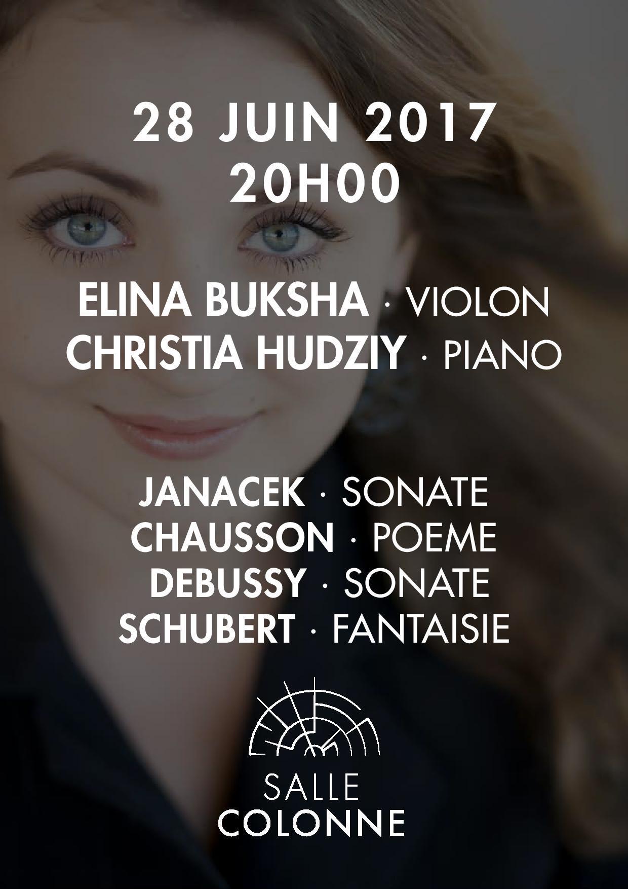 2 places pour le concert de Christia Hudziy / Elina Buksha (Salle Colonne - Paris) / Frais inclus